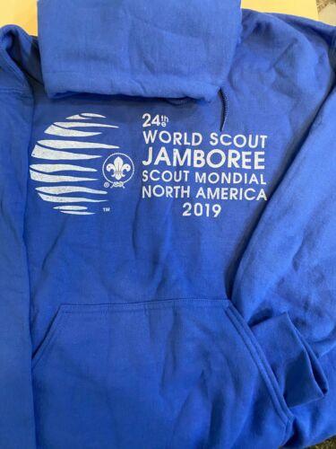 2019 WORLD SCOUT JAMBOREE AUTHENTIC HOODED SWEATSHIRT-NEW ROYAL BLUE