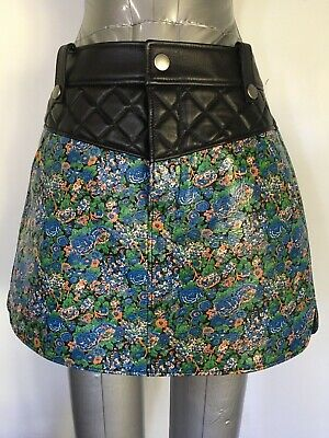 COACH Leather Skirt 1941 Blue Floral Curved Hem Sz 0  Floral NWT Retail $895.00