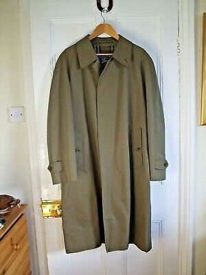 "Genuine Vintage Burberry Raincoat 100% Cotton, Green, Metallic Sheen, 46"""