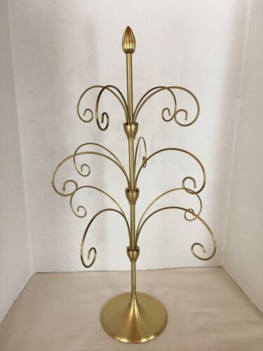 "Ornament Display Tree 22"" Gold Metal 12 Ornament Branch 3 Tier Original BOX EUC"