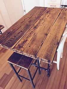 BEAUTIFUL RECLAIMED WOOD KITCHEN ISLAND DINING TABLE PIPE BASE