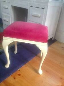 Beautifully upholstered pink cushioned cream stool Lenswood Adelaide Hills Preview