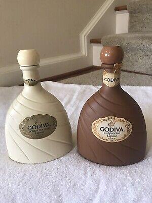 2 VTG Godiva Liqueur Bottles - White Chocolate & Cappuccino - EMPTY 750 ml Godiva White Chocolate Liqueur