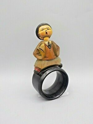 1940s Jewelry Styles and History Vintage 1940's Anri Italy Hand Carved Wood Napkin Ring Figural Bobble Head $12.99 AT vintagedancer.com