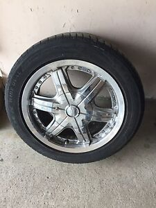 "15"" Chrome  rims and tires"