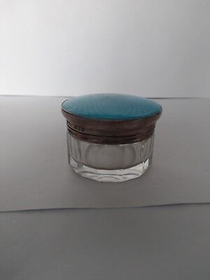 Antique Guilloche Enamel and Solid Silver Topped Glass Pot. London 1907 vgc