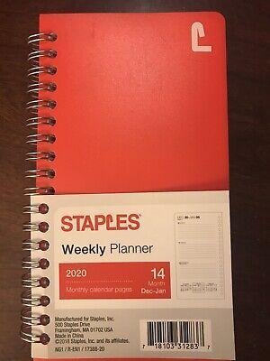 Staples 2020 Weekly Planner 14 Month Dec 2019 -jan 2021 Red 3-12x6-58