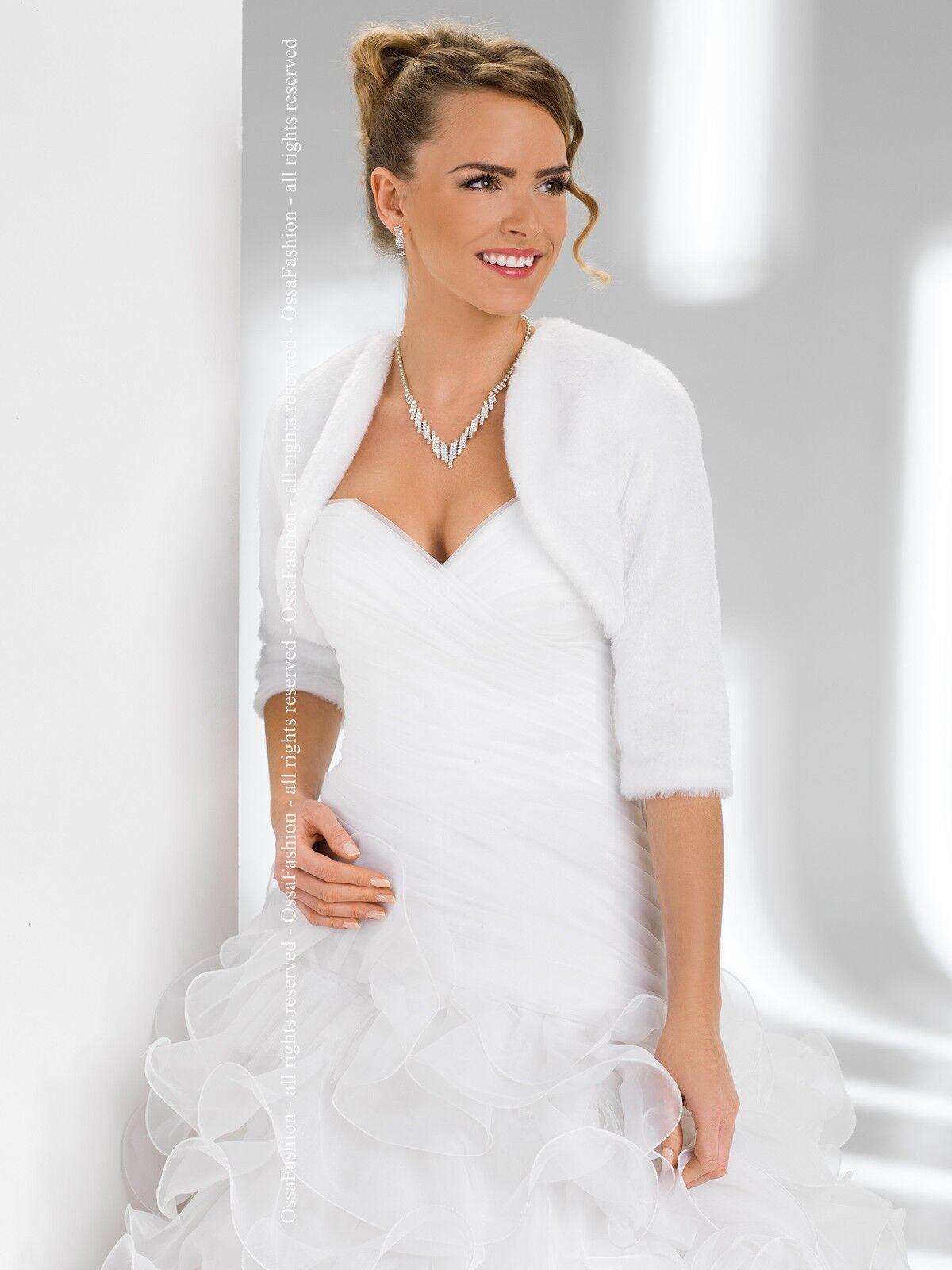 New Women Wedding Faux Fur Top Bridal Bolero Jacket Shrug ...
