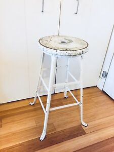 VINTAGE INDUSTRIAL FACTORY STOOL BAR HEIGHT HIGH KITCHEN ISLAND