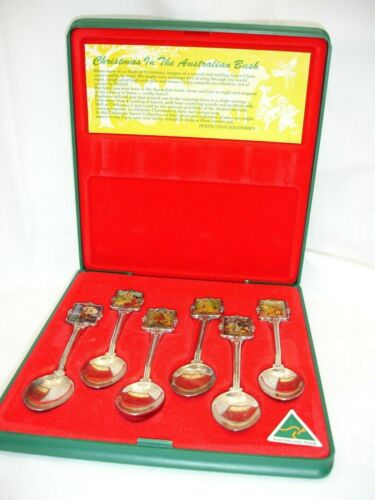 Souvenir Spoon Boxed Set, Silverplate, Christmas in the Australian Bush, Vintage