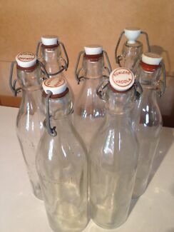 VINTAGE FOWLERS VACOLA BOTTLES x6 (one pint) CERAMIC STOPPERS Cannon Hill Brisbane South East Preview