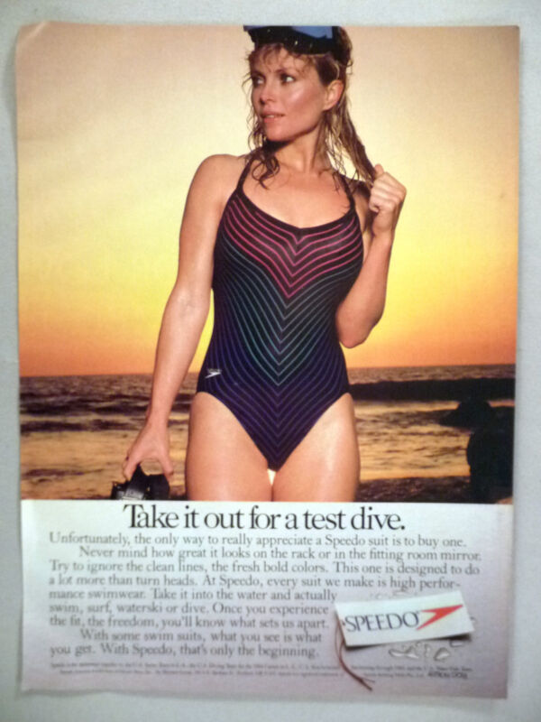Speedo Swimsuit PRINT AD - 1984 ~~ bathing suit, swimwear