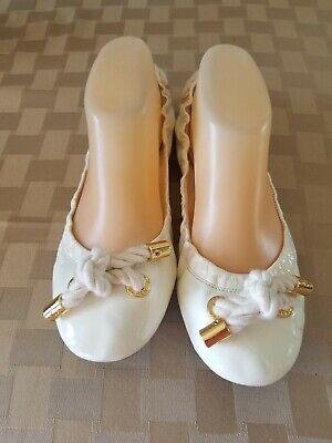 Tory Burch Patent Leather Nautical non slip Ballet Flats Sz 8 M White.