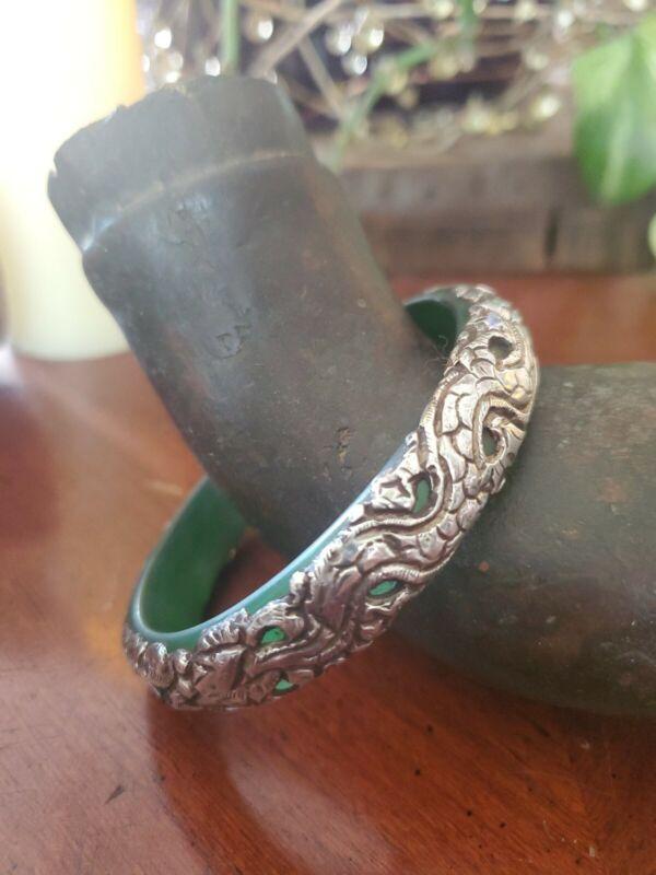 Antique Sterling Carved Dragon Over Jade Bangle Bracelet STUNNING & RARE!!