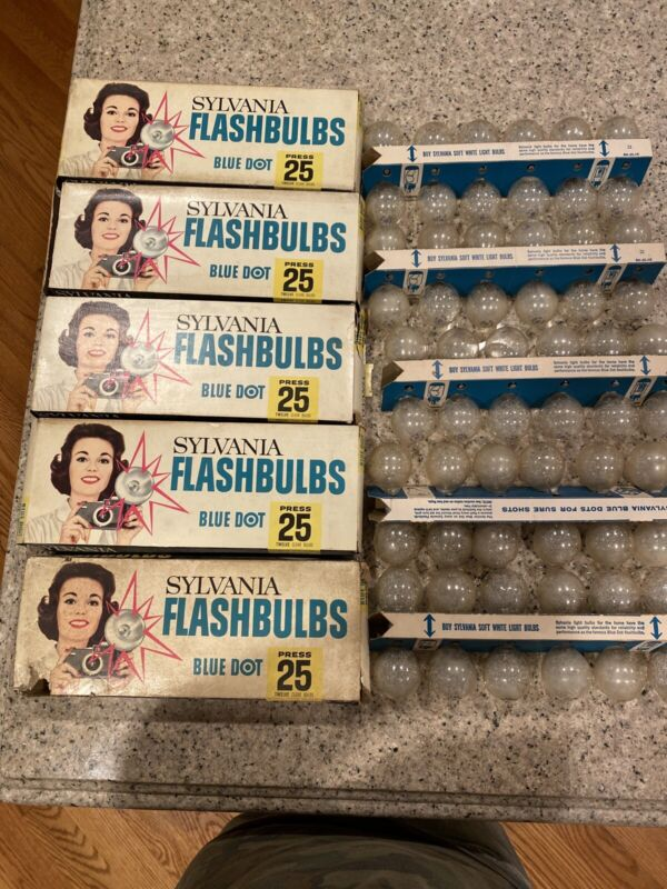 Sylvania Flash Bulbs Blue Dot Press 25 12 Clear Bulbs Lot Of 5 Boxes 60 Total