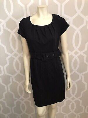 H&M Black Dress Sz 12 Belted Above Knee Sheath Career Short Sleeve Stretch Zip