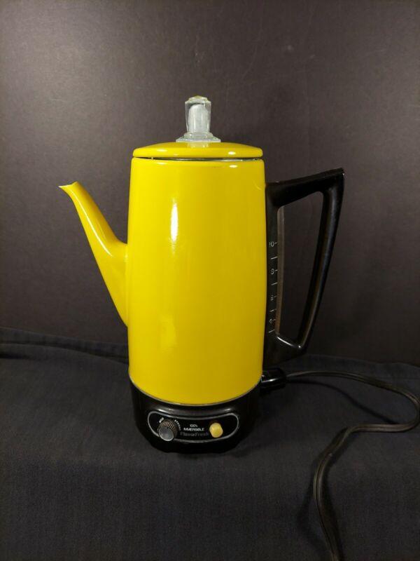 Vintage Sears Flavor Fresh Elecyric Percolator Yellow Model 302 TESTED