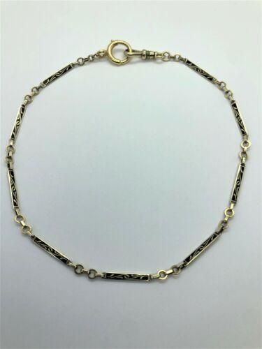 Victorian 14k Yellow Gold Enamel Pocket Watch Chain