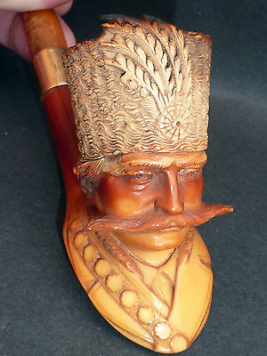 SUPERB ANTIQUE TURKISH MEERSCHAUM PIPE 18CT GOLD MOUNT