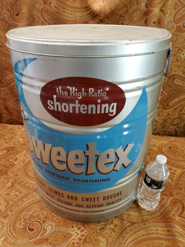 "SWEETEX PURE VEGETABLE SHORTENING EMPTY LARCH CAN  20"" TALL"