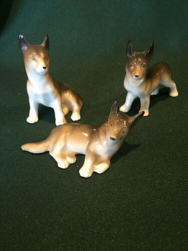 Vintage Ceramic Belgian Shepherd (??) Family of Three Figurines - Erphila German