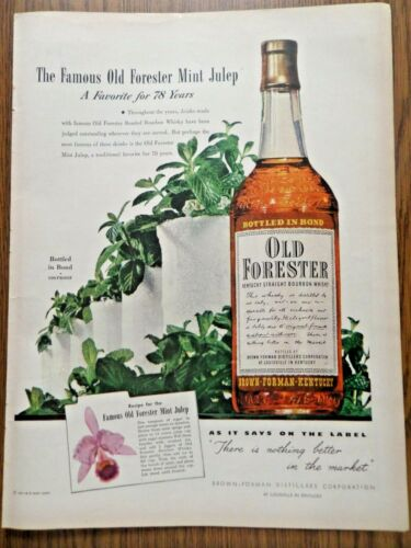 1948 Old Forester Whiskey Ad The Famous Mint Julep a Favorite for 78 Years