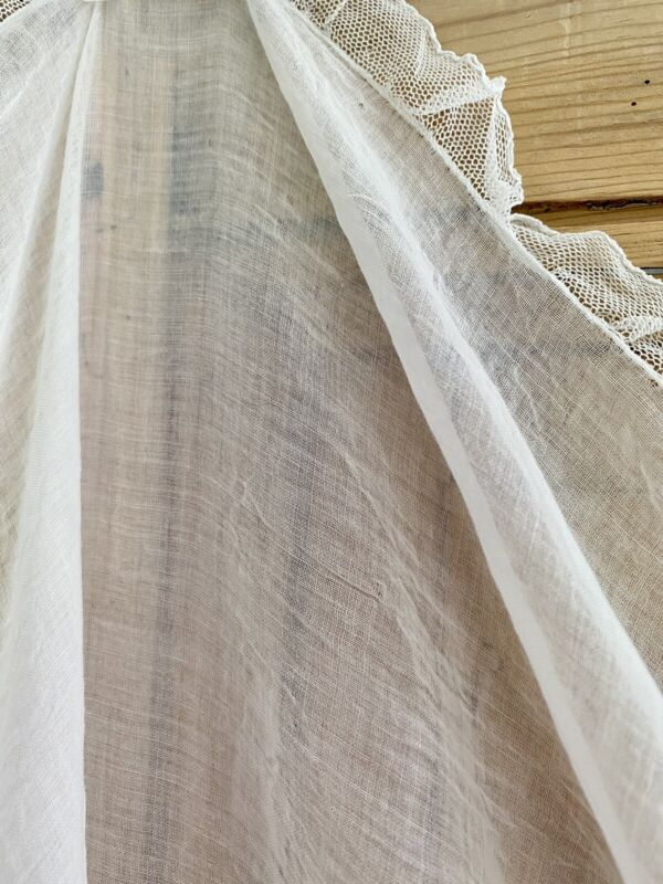Antique French BED CANOPY cotton muslin veil LACE net transparency c1900