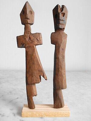 2 Statuettes Fetishes Aklama Adan Ada Ewe 23cm +24cm Art Tribale Primitive.**