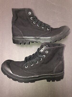 Palladium Size 9.5 2352060 Black Canvas Mid Boot Men's Pampa Hi Original Lace Up