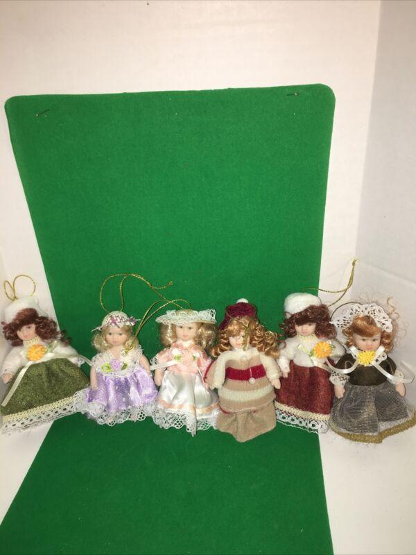 6 Porcelain Doll Christmas Tree Ornaments