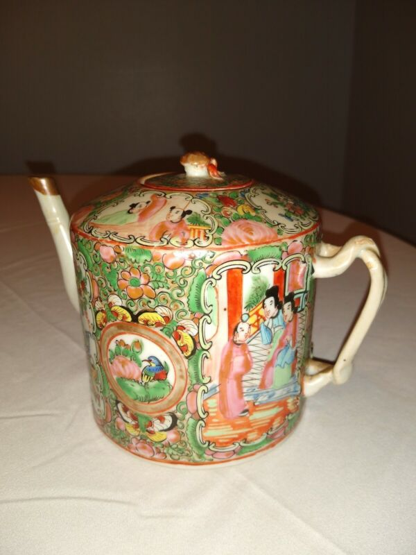 Antique Chinese Rose Medallion Teapot With Lid, RARE.