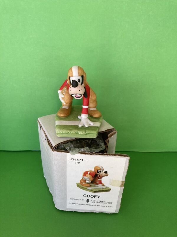 "Walt Disney Productions Bisque Porcelain Football Goofy 3"" Figurine NIB"