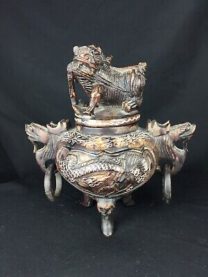 Old Antique Vintage Chinese Carved Lidded Pot Urn Guardian Lion Dog Foo for sale  Shipping to South Africa