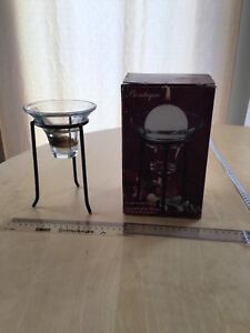 Candle holder glass bowl on metal pedestal gift Christmas