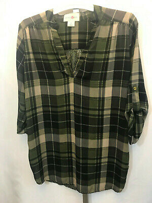 Women's Wishful Park Green Plaid Floral w/ Lace Back Shirt Blouse S Small B28
