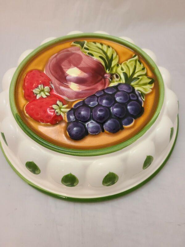 Vtg Gailstyn-Sutton Towle Ceramic Jello Mold Fruit Hand Painted Japan Wall Decor