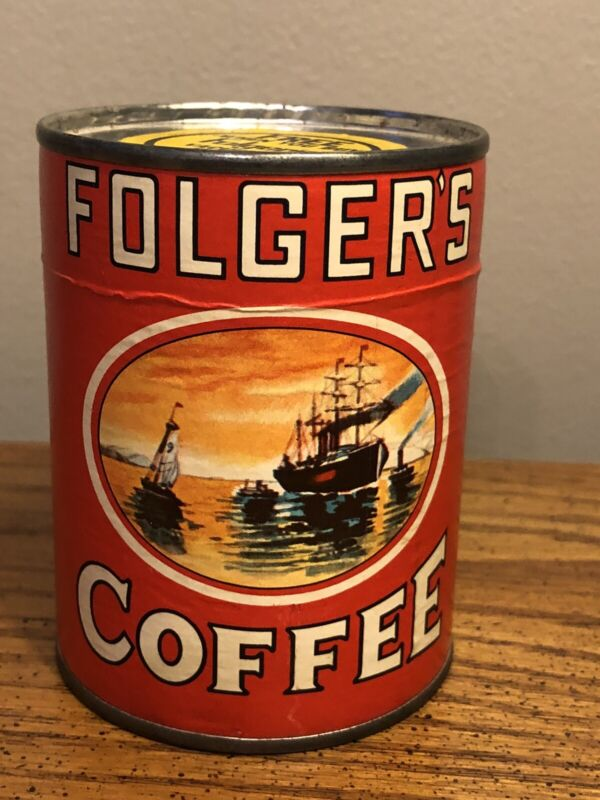 "VTG FOLGERS COFFE TIN 3.5"" PUZZLE SEALED UNUSED EXCELLENT CONDITION PROMO RARE"