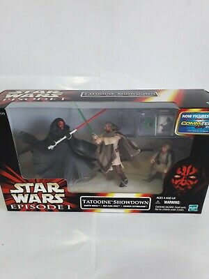 STAR WARS EPISODE 1 TATOOINE SHOWDOWN DARTH MAUL ,QUI-GON JINN & ANAKIN  HASBRO