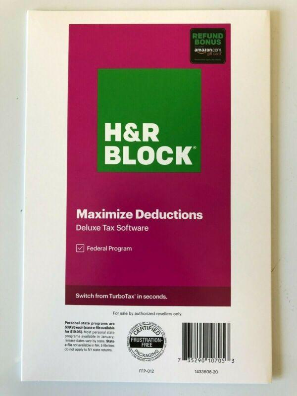 H&R Block Tax Software 2020 Deluxe Federal Refund Bonus 1433608-20 735290107053