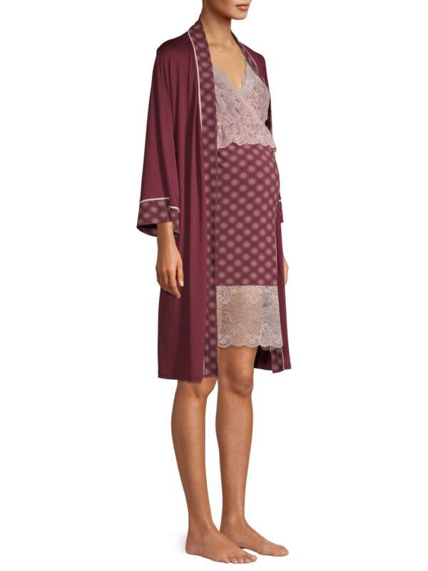 Womens Nannette Super Soft Nursing Nightgown & Robe Red S