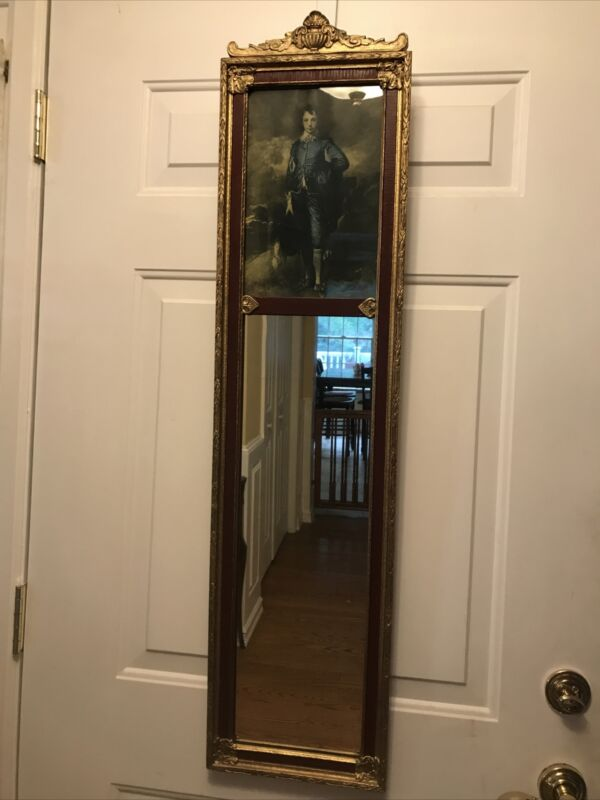 Vintage 1900s Ornate trumeau mirror Pier Glass Wooden Framed with Blue Boy, Mint