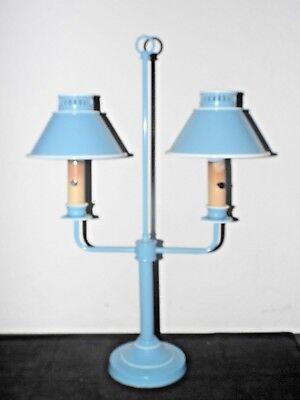 GWTW VINTAGE FANCY BLUE TOLEWARE DUEL SHADED  METAL STUDENT HURRICANE LAMP  - Blue Hurricane Lampe