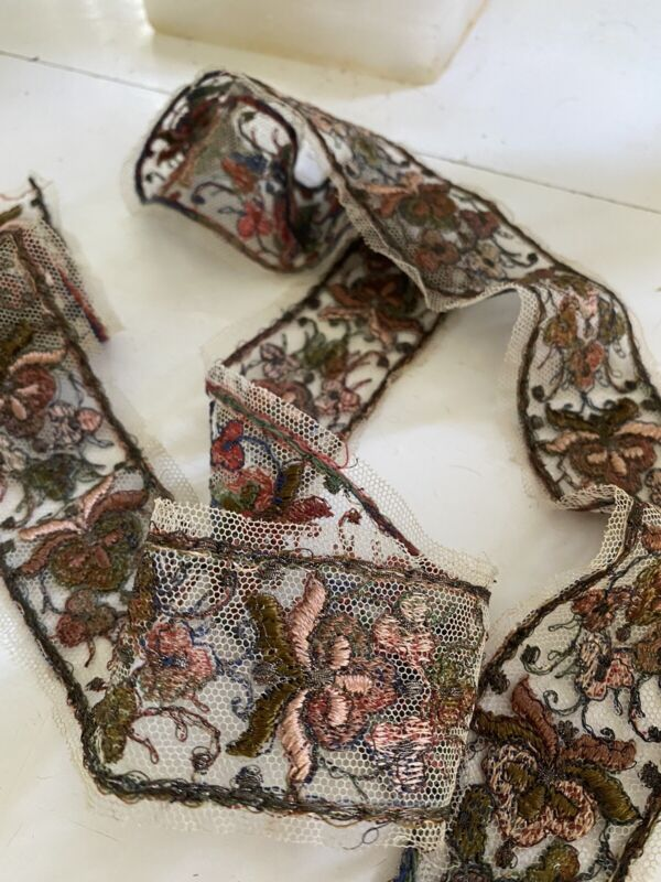 """French Metalwork Net Lace Satin Stitched Embroidered Trim 42 1/2"""" Pale Pink Rust"""
