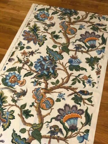 """Vintage French printed Indienne sample - midcentury, large scale (L 70"""" x W 32"""")"""