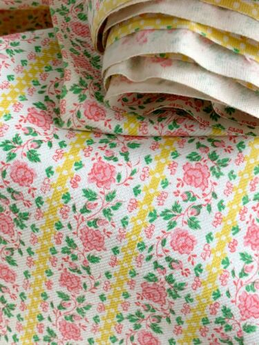 3.2 yd inches Vintage French floral UNUSED bolt 1930 fabric material shabby chic