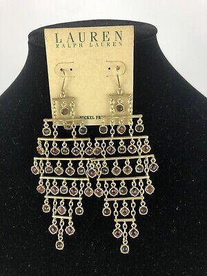 LAUREN Ralph Lauren  Gold-Tone & purple stones Chandelier Earrings STUNNING!