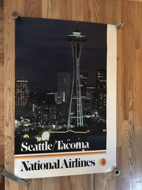 Vintage 70's NATIONAL AIRLINES Seattle Tacoma Travel POSTER Washington State