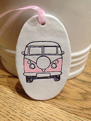 Beautiful Handmade Clay Hanging Pink VW Camper Van Decoration/gift Tag New