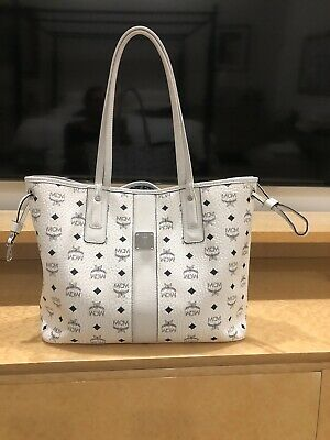 Authentic MCM White Leather Tote Bag Reversible Shopper