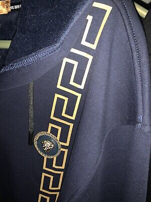 Versace Lion Head Greek Key Resembled Moderno Full Zip Navy Hoodie XL